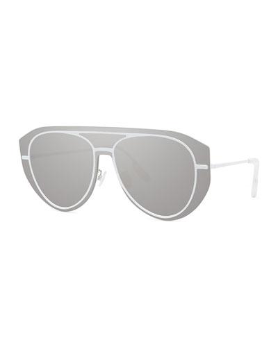 Men's Pilot Metal Aviator Shield Sunglasses - Mirror Lens