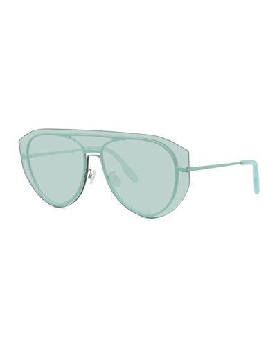 Men's Pilot Metal Aviator Shield Sunglasses