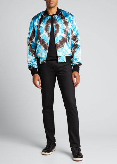 Men's Hearts Tie-Dye Bomber Jacket
