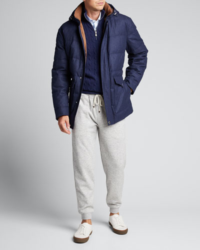 Men's Flannel Down Cashmere Parka with Hood