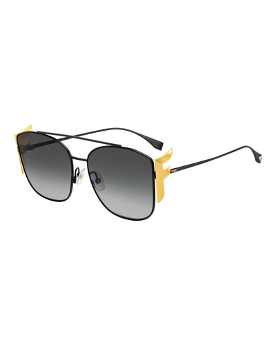 Men's Swarovski FF Square Metal Sunglasses