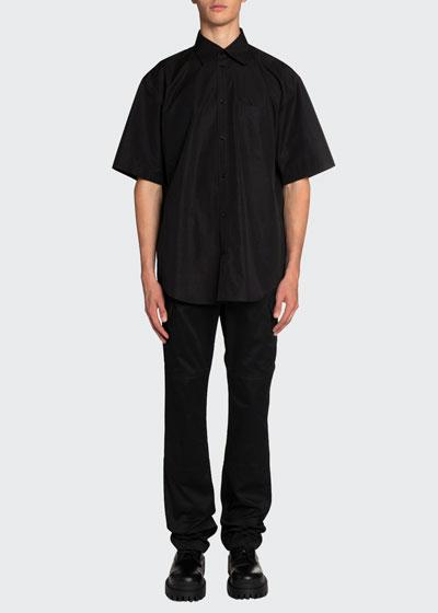 Men's Oversized Poplin Short-Sleeve Sport Shirt