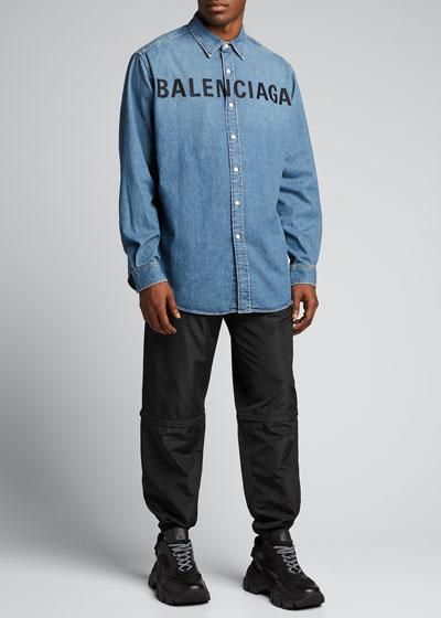 Men's Front Logo Denim Sport Shirt
