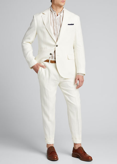 Men's Two-Piece Chevron Linen Suit