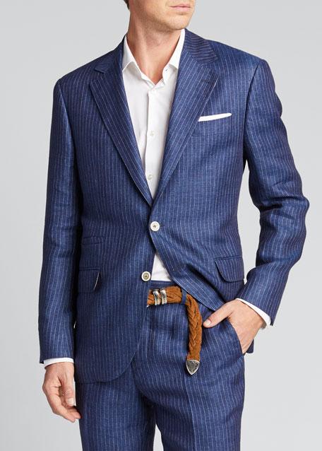 Men's Two-Piece Pinstriped Linen Suit