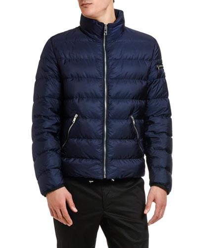 Men's Zip-Front Nylon Puffer Jacket