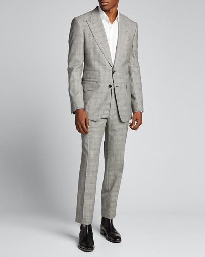 Men's Prince of Wales Wool Two-Piece Suit