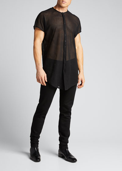 Men's Long Boxy Sheer Vest Overshirt