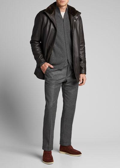 Men's Voyager Fur-Trim Leather Jacket