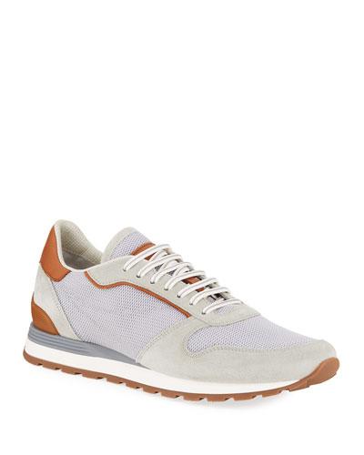 Men's Mesh/Suede Runner Sneakers