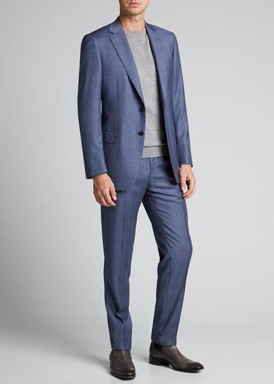 Men's Light Plaid Wool Two-Piece Suit