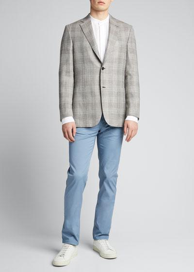 Men's Tonal Plaid Two-Button Jacket