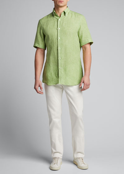 Men's Solid Short-Sleeve Yarn-Dyed Sport Shirt