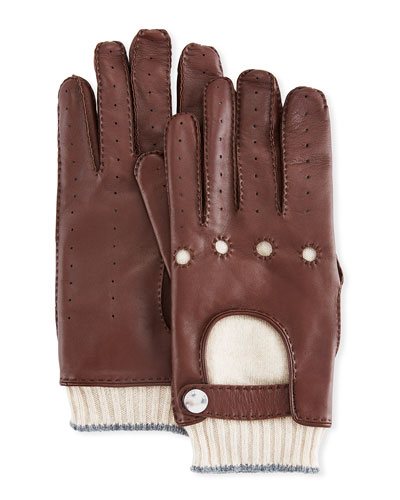 Men's Cashmere-Lined Leather Gloves