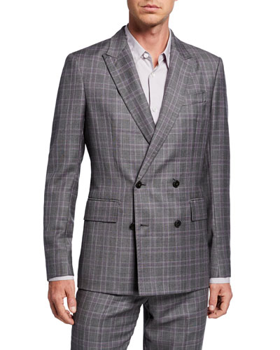 Men's Damien Check Double-Breasted Suiting Jacket