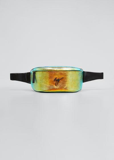 Men's Torres Iridescent Lizard-Print Belt Bag