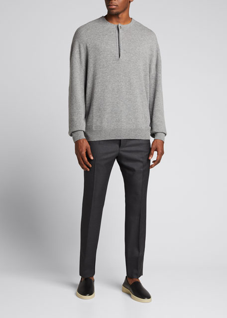 Image 1 of 1: Men's x Zegna Wool Single-Button Henley Sweater