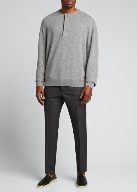 Image 1 of 1: Men's x Zegna Solid Wool Single-Pleat Trousers