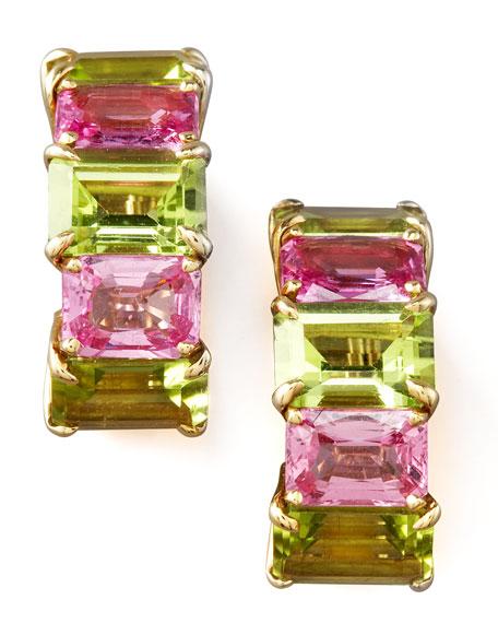 Peridot & Pink Sapphire Huggie Earrings