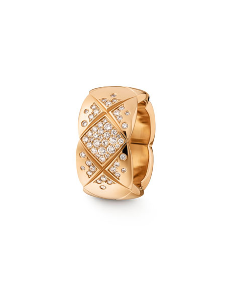 COCO CRUSH RING IN 18K BEIGE GOLD AND DIAMONDS, MEDIUM VERSION.