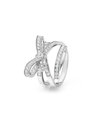 Ruban Medium 18K White Gold Ring with Diamonds, Size 54