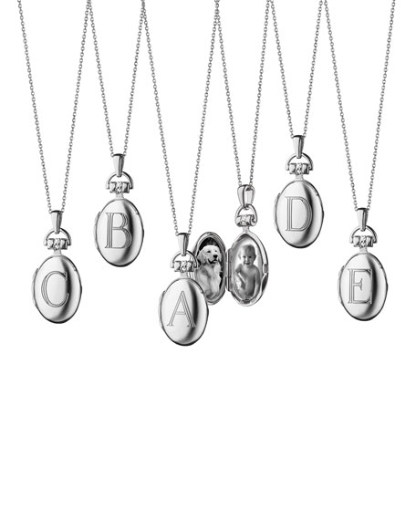 Petite Sterling Silver Initial Locket Necklace