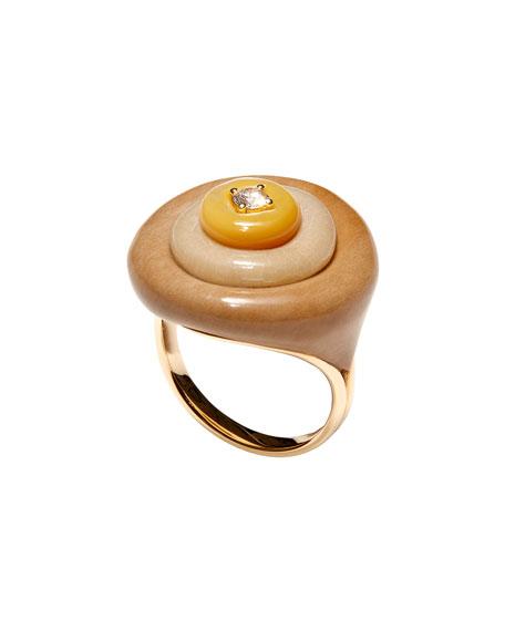 Stacked 18k 1-Diamond Petrified Wood Ring, Size 6.75