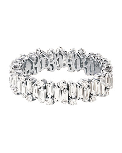 18k White Gold Mixed-Cut Diamond Eternity Ring  Size 6