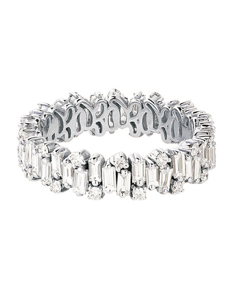 18k White Gold Mixed-Cut Diamond Eternity Ring, Size 6