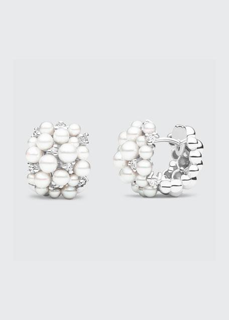 Lagrange 18k White Gold Pearl & Diamond Hoop Earrings