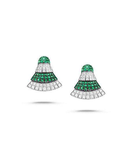 Ventaglio 18k White Gold Earrings w/ Diamonds & Emerald