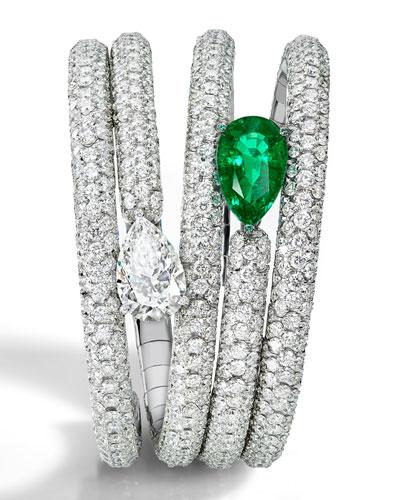 One-of-a-Kind Pear Diamond & Emerald Bracelet