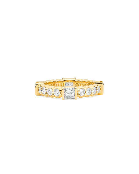 18K Yellow Gold Pinpoint Ring w/ Square & Round Diamonds