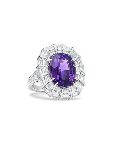 Modern Purple Sapphire Pillow Ring in Platinum