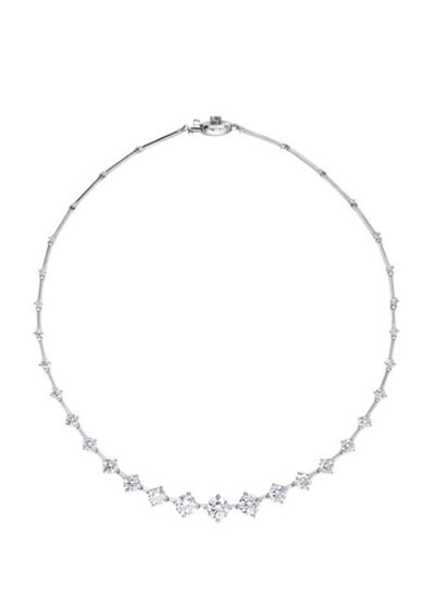 High Brilliant Sequence 18k White Gold Diamond Necklace
