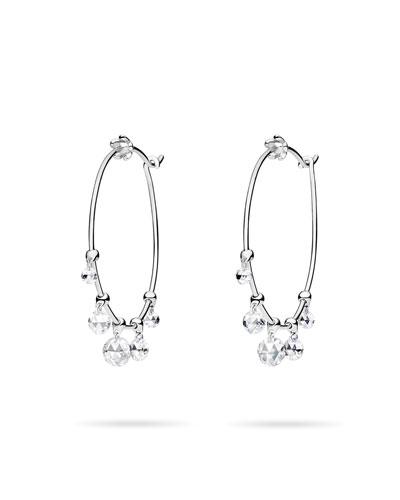 Wind Chimes Hoop Earrings in 18K White Gold & White Diamonds