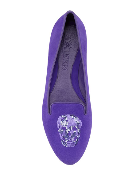 Embroidered Sequined Skull Smoking Slipper, Purple