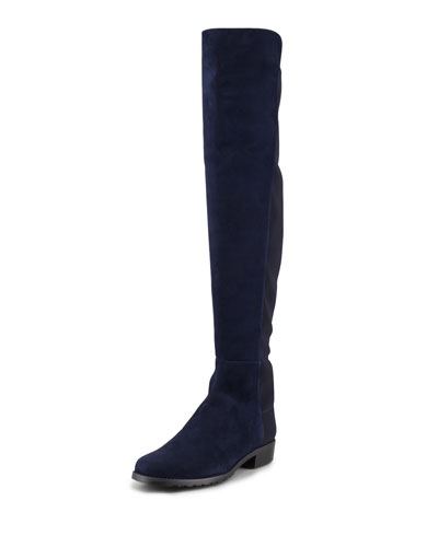 50/50 Suede Stretch-Back Knee Boot, Blue