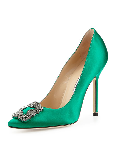 Hangisi Crystal-Buckle Satin Pump, Green