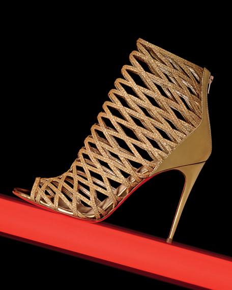 Mille Cinque Metallic Lattice Red Sole Bootie, Gold