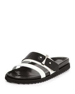 Double-Band Slide Sandal, Black/White