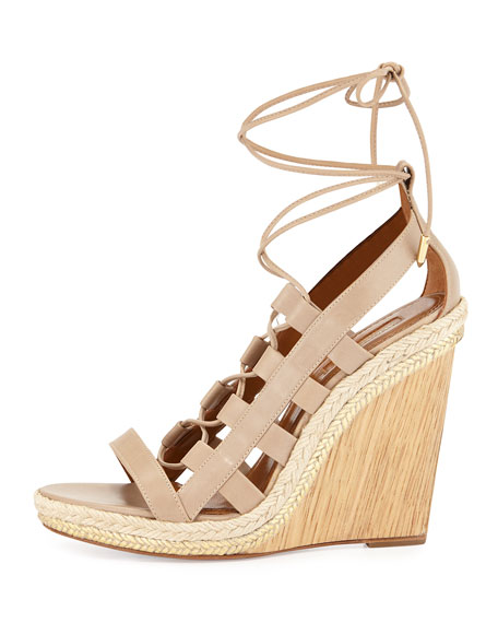 Amazon Leather Lace-Up Wedge Sandal