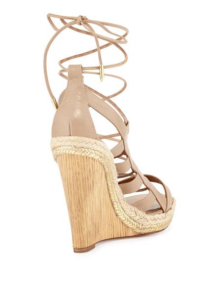 63150bf898b6 Aquazzura Amazon Leather Lace-Up Wedge Sandal