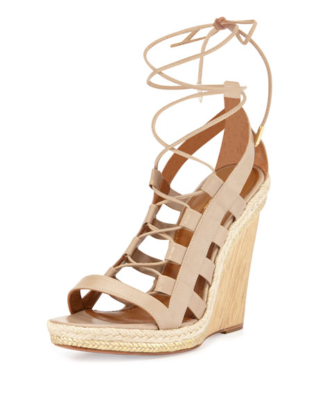 dab704d44a Aquazzura Amazon Leather Lace-Up Wedge Sandal