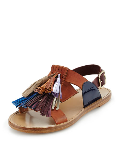 Flat Leather Pompom Sandal, Tan