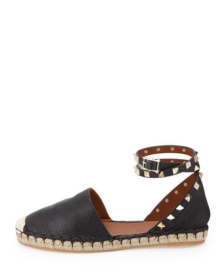 Rockstud Double Ankle-Wrap Flat Espadrille, Black