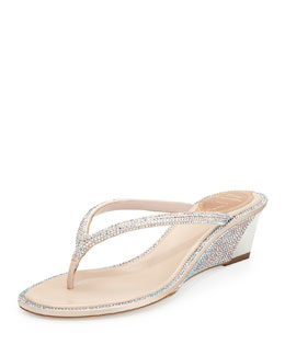 Strass Leather Thong Sandal, Silver