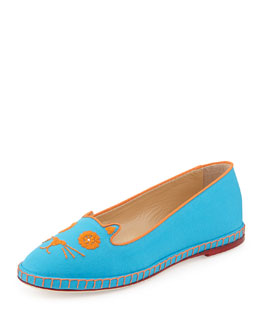 Mexi-Cat Embroidered Flat Espadrille, Turquoise