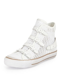 Vanessa Buckled Mesh High-Top Sneaker, White