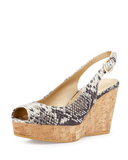 Jean Snake-Embossed Leather Slingback Wedge Sandal